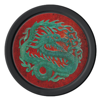 Jade Dragon Carving On A Red Background Set Of Poker Chips