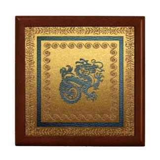 Jade Dragon Tile Gift Box, Golden Oak Gift Box