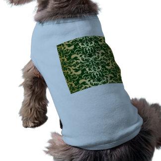 jade,faux gold,damasks,vintage,antique,pattern,chi sleeveless dog shirt