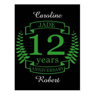 Jade Gemstone wedding anniversary 12 years Postcard