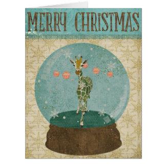 Jade Giraffe Snowglobe  Christmas Card