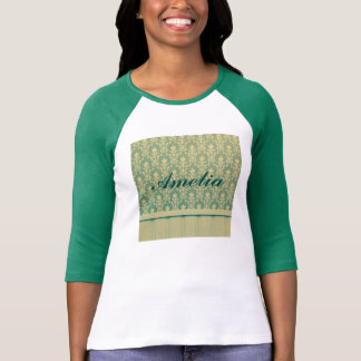 Jade golden vintage damask wood wall antique chic tees