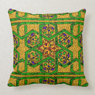 Jade Green and Gold knot work Cushion