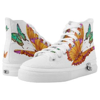 Jade Green and Golden Butterflies High Top Shoes