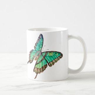Jade Green and Golden Butterflies Mug