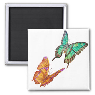Jade Green and Golden Butterfly Magnet