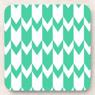 Jade Green and White Chevron Pattern. Coaster