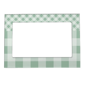 Jade Green Gingham Magnetic Picture Frame