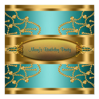 Jade Green Gold Womans Birthday Party Card