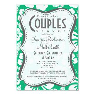 Jade Green Hawaiian Tropical Hibiscus 11 Cm X 16 Cm Invitation Card
