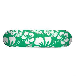 Jade Green Hawaiian Tropical Hibiscus Skate Decks