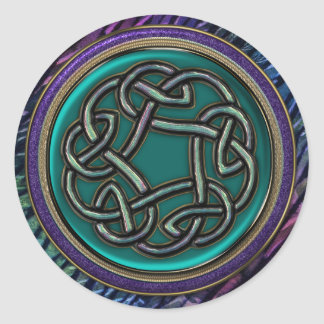 Jade Green Metal Celtic Knot Classic Round Sticker
