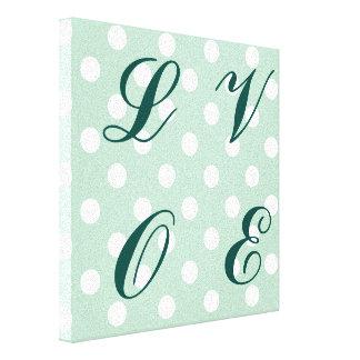 jade green,polka dot,white,cute,girly,trendy,fun stretched canvas prints