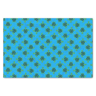 Jade Green Sea Turtle on Ocean Blue Background Tissue Paper
