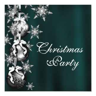 Jade Green Snowflakes Christmas Party Invitations