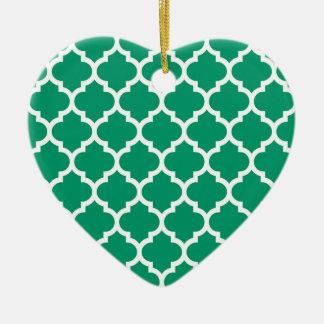Jade Green White Moroccan Quatrefoil Pattern #5 Christmas Tree Ornament