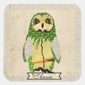 Jade Gypsy Owl Personalized Sticker