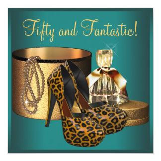 Jade Leopard Gold Womans 50th Birthday Card