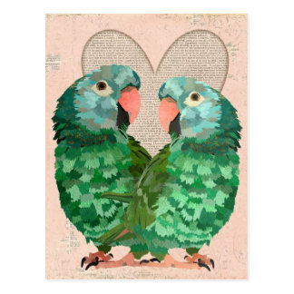 Jade Parrots Heart Postcard