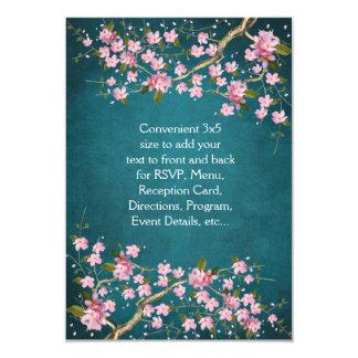 Jade Pink Japanese Cherry Blossoms Wedding Card