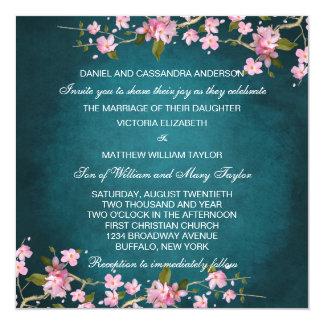 "Jade Pink Japanese Cherry Blossoms Wedding 5.25"" Square Invitation Card"