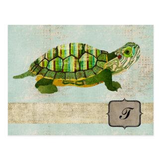 Jade Turtle Monogram Postcard