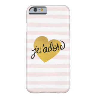 J'adore Quote | Black & Gold Heart Barely There iPhone 6 Case