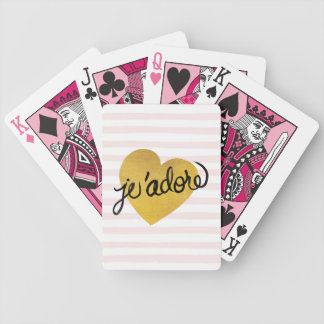 J'adore Quote | Black & Gold Heart Bicycle Playing Cards