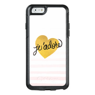 J'adore Quote | Black & Gold Heart OtterBox iPhone 6/6s Case