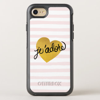 J'adore Quote | Black & Gold Heart OtterBox Symmetry iPhone 8/7 Case