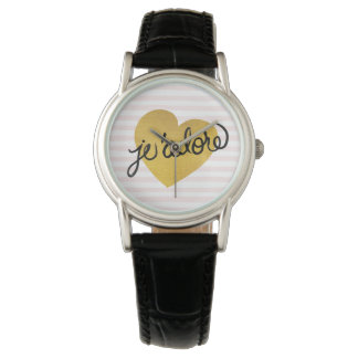 J'adore Quote | Black & Gold Heart Watch