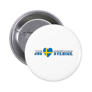 Jag Kärlek Sverige 6 Cm Round Badge