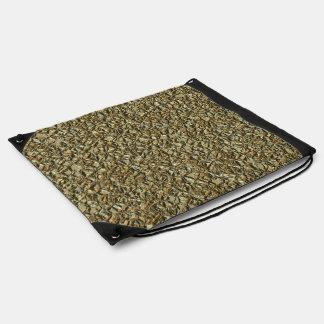 jagged stone golden drawstring bag