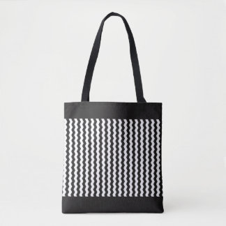 Jagged White Zig-Zag Customizable Tote Bag