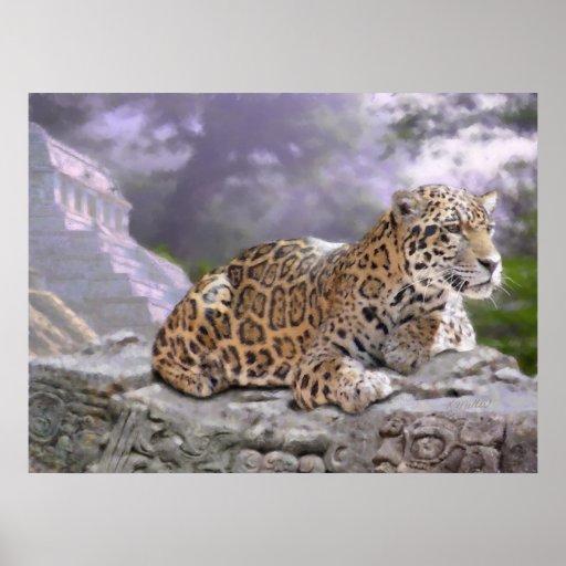 Jaguar and Mayan Temple Posters
