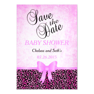 Jaguar Animal Cat Pattern| Pink | Baby Girl Shower Magnetic Invitations