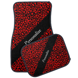 Jaguar Animal Print | Red | Personalize Car Mat