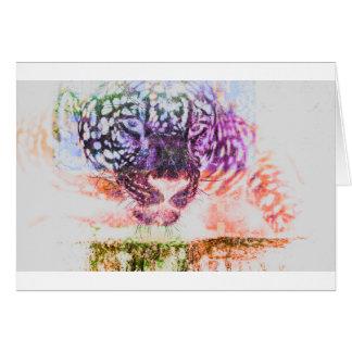 Jaguar cat rainbow art print card