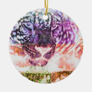 Jaguar cat rainbow art print ceramic ornament