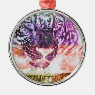 Jaguar cat rainbow art print metal ornament