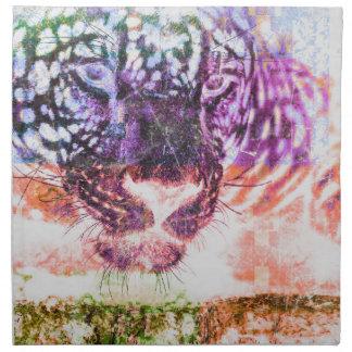 Jaguar cat rainbow art print napkin