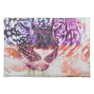 Jaguar cat rainbow art print placemat