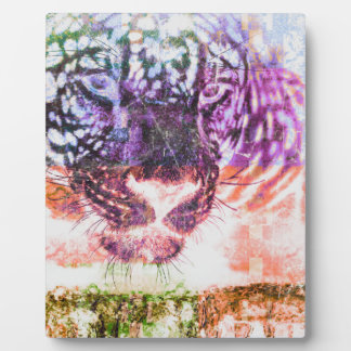 Jaguar cat rainbow art print plaque