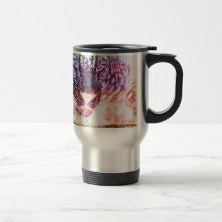 Jaguar cat rainbow art print travel mug