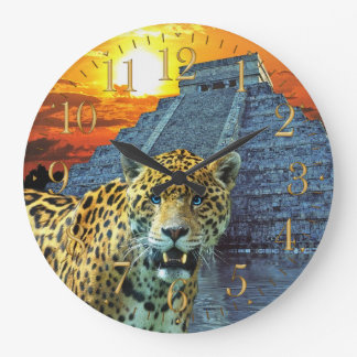 Jaguar & Chichen Itza Temple Wildlife Wall Clock