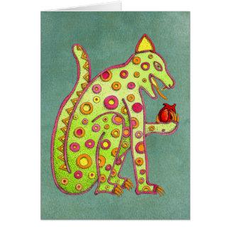 Jaguar Eating Heart (green) Card