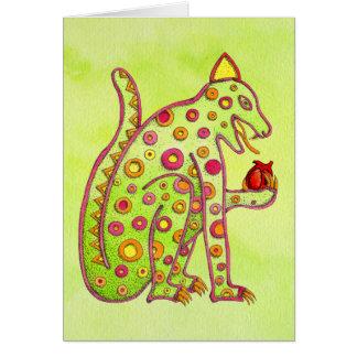 Jaguar Eating Heart (lt green wc) Card