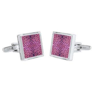 Jaguar Fur in Pink and Purple Silver Finish Cufflinks