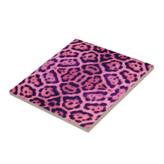 Jaguar Fur in Pink and Purple Small Square Tile
