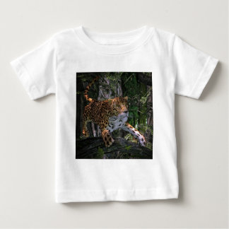 Jaguar leaping in the forest baby T-Shirt